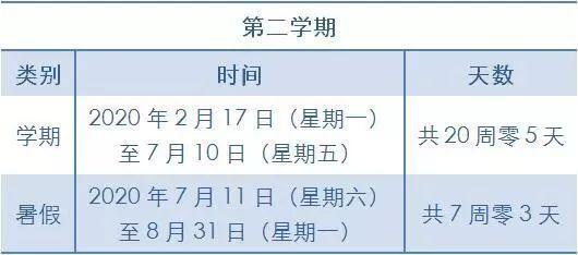 2019-2020学年北京中小学寒假放假时间