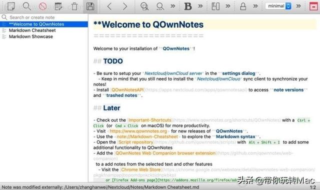 mac私有云笔记软件---QOwnNotes