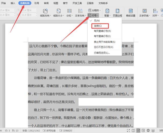 WPS文档技巧—如何显示文章行号