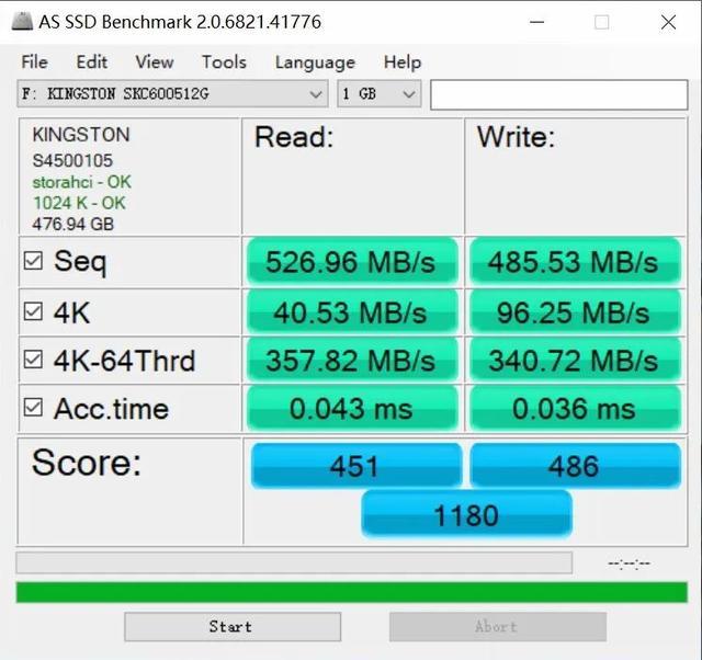 金士顿KC600固态硬盘的简单测试