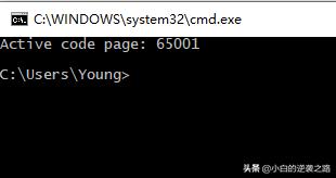 Win10永久设置cmd窗口为UTF-8字符集0007
