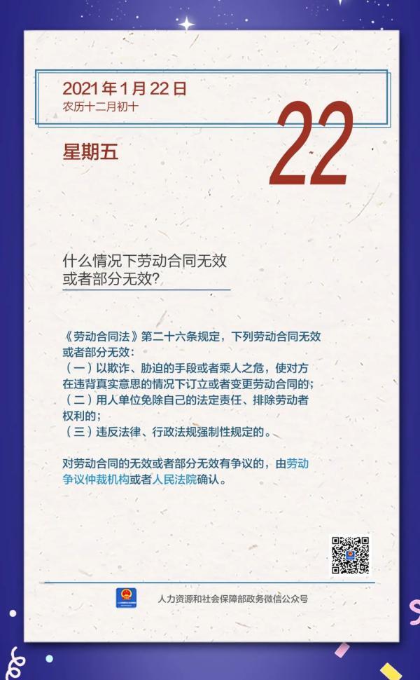 【人社日课·1月22日】什么情况下劳动合同无效或者部分无效?